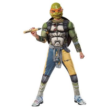 Kids Teenage Mutant Ninja Turtles Movie 2: Michelangelo Deluxe Muscle Costume