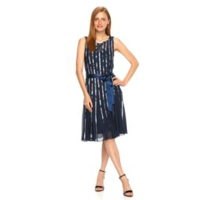 Women's Expo Mesh Striped Fit & Flare Dress
