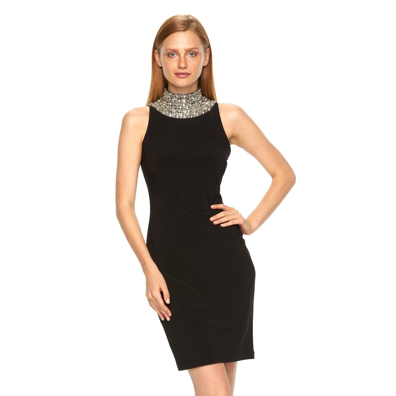 Womens Expo Beaded Mockneck Sheath Dress