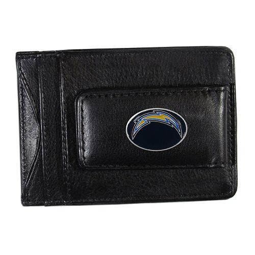 San DiegoChargers Black Leather Cash & Card Holder