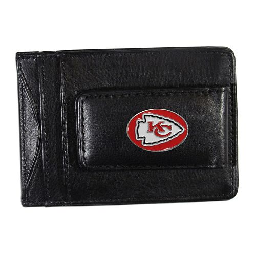 Kansas City Chiefs Black Leather Cash & Card Holder