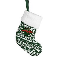 Forever Collectibles Minnesota Wild Knit Stocking Christmas Ornament