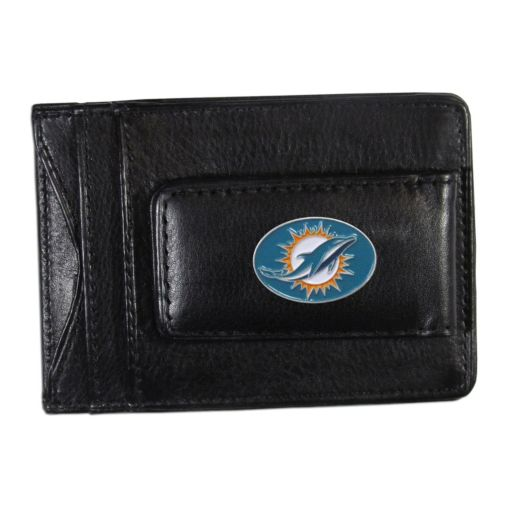 Miami Dolphins Black Leather Cash & Card Holder