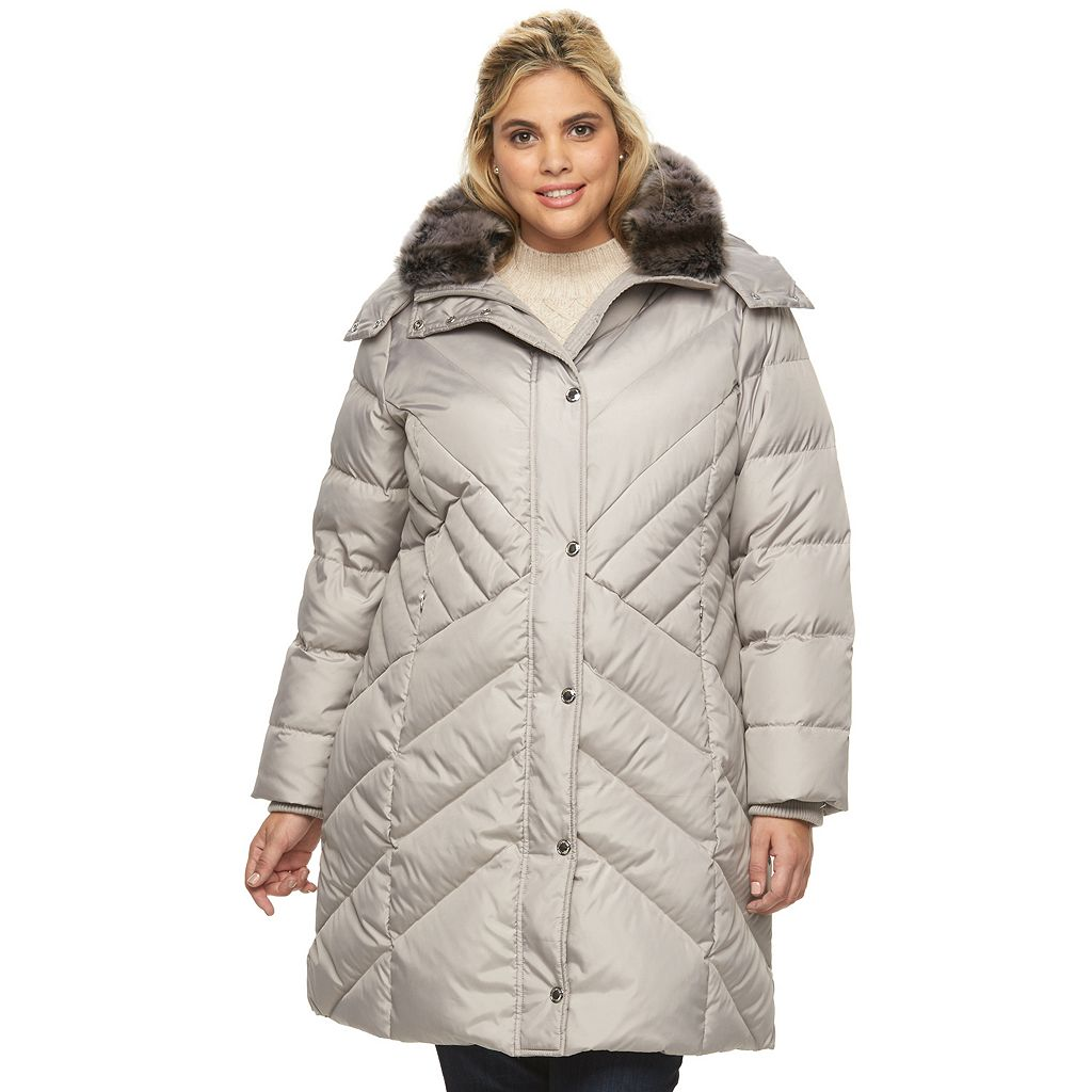 Plus Size Towne by London Fog Hooded Down Puffer Parka