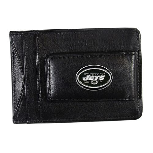 New York Jets Black Leather Cash & Card Holder