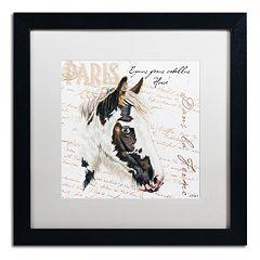 Trademark Fine Art Dans 'la Ferme' Horse Black Framed Wall Art