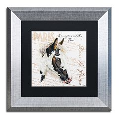 Trademark Fine Art Dans 'la Ferme' Horse Silver Finish Framed Wall Art