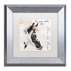 Trademark Fine Art Dans 'la Ferme' Horse Silver Finish Framed Wall Art