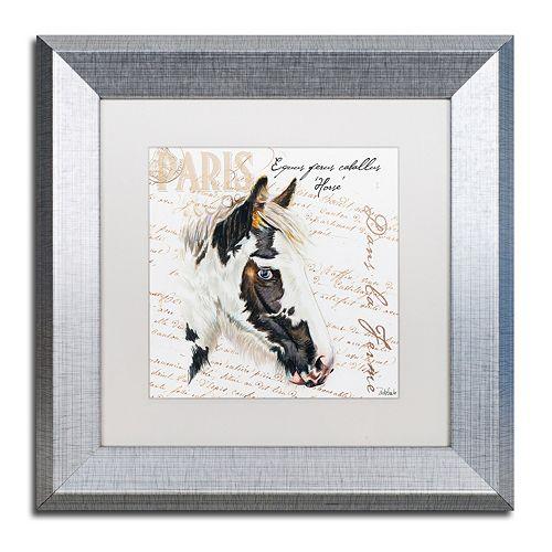 """Trademark Fine Art Dans """"la Ferme"""" Horse Silver Finish Framed Wall Art"""