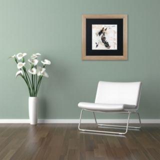 """Trademark Fine Art Dans """"la Ferme"""" Horse Birch Finish Framed Wall Art"""