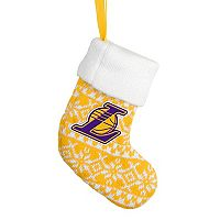 Forever Collectibles Los Angeles Lakers Knit Stocking Christmas Ornament