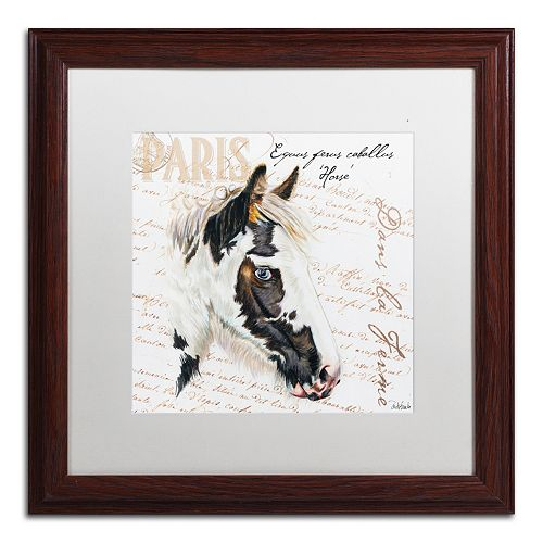 Trademark Fine Art Dans la Ferme Horse Framed Wall Art