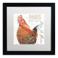 Trademark Fine Art Dans la Ferme Rooster I Black Framed Wall Art