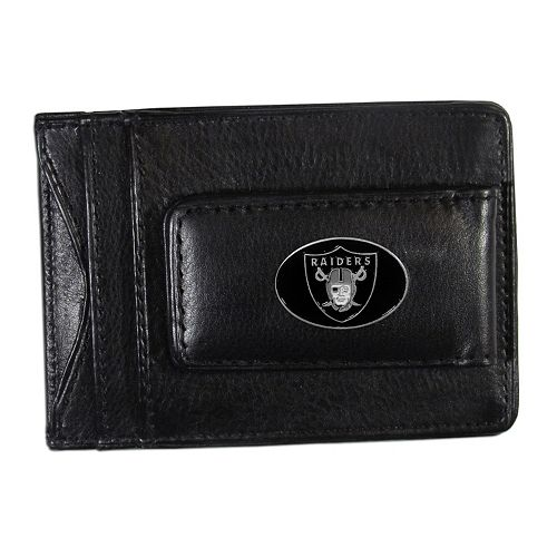 Oakland Raiders Black Leather Cash & Card Holder