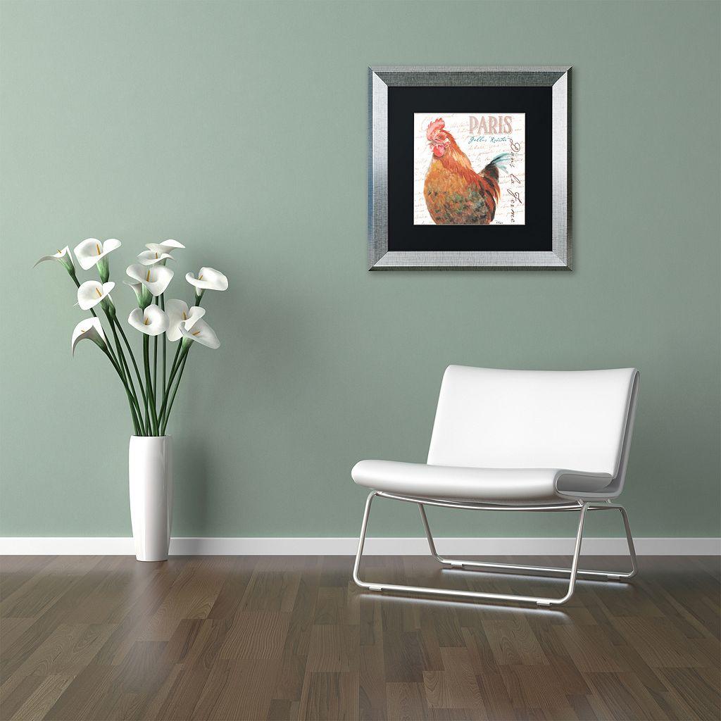 Trademark Fine Art Dans la Ferme Rooster I Silver Finish Framed Wall Art