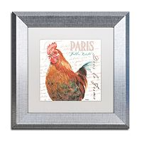 Trademark Fine Art Dans la Ferme Rooster I Silver Finish Framed Wall Art