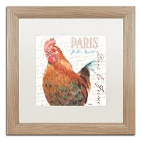 Trademark Fine Art Dans la Ferme Rooster I Birch Finish Framed Wall Art