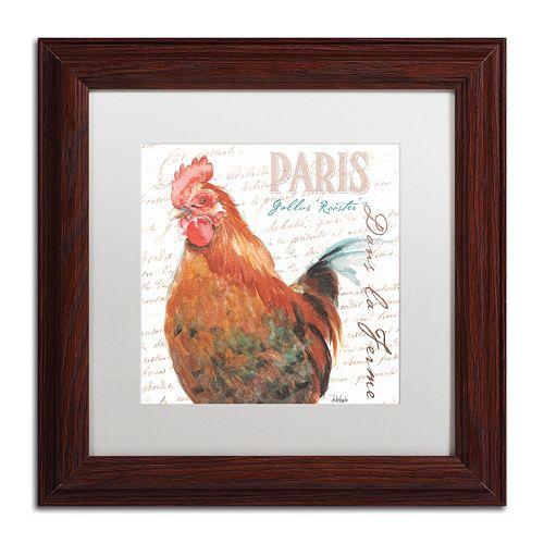 Trademark Fine Art Dans la Ferme Rooster I Wood Finish Framed Wall Art