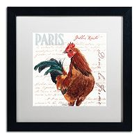 Trademark Fine Art Dans la Ferme Rooster II Black Framed Wall Art