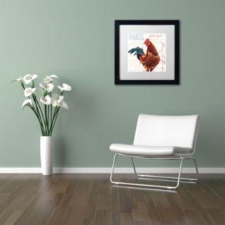 Trademark Fine Art Dans la Ferme Rooster II Black Framed Wall Art