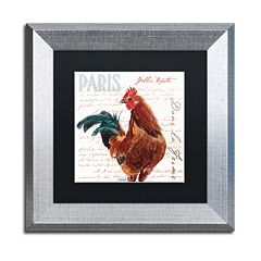 Trademark Fine Art Dans la Ferme Rooster II Silver Finish Framed Wall Art