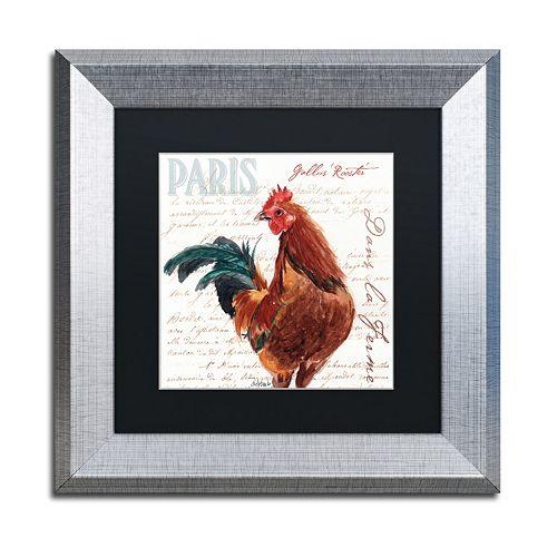 Trademark Fine Art Dans la Ferme Rooster II Silver Finish Framed Wall Art