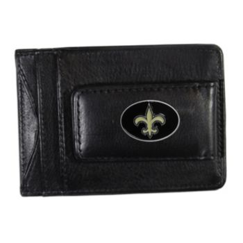 New Orleans Saints Black Leather Cash & Card Holder