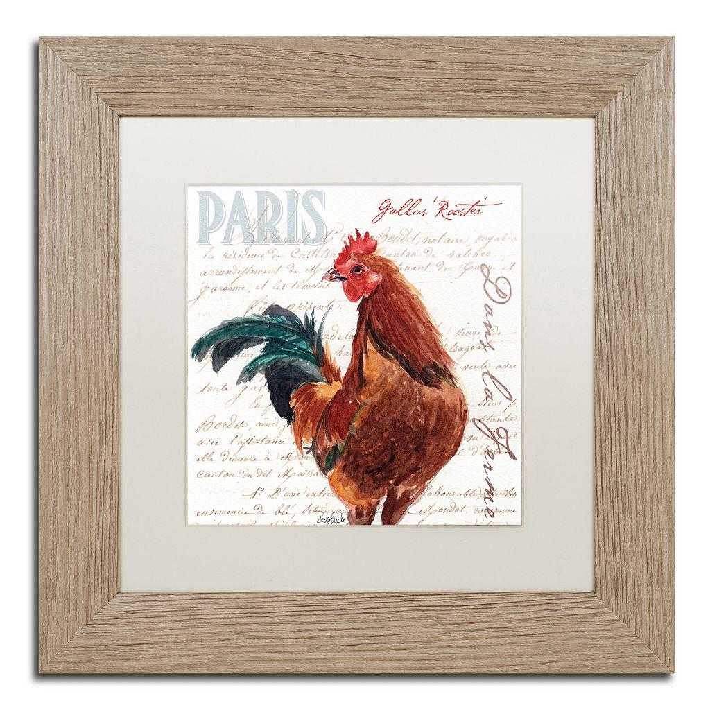 Trademark Fine Art Dans la Ferme Rooster II Birch Finish Framed Wall Art