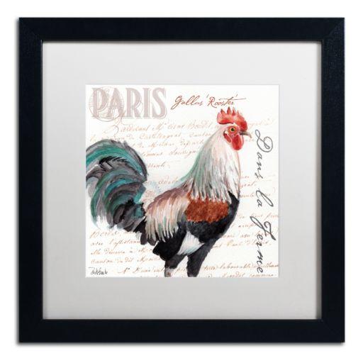 Trademark Fine Art Dans la Ferme Rooster III Black Framed Wall Art