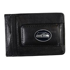 Seattle Seahawks Black Leather Cash & Card Holder