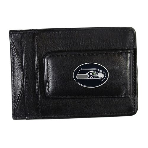Seattle Seahawks Black Leather Cash & Card Holder
