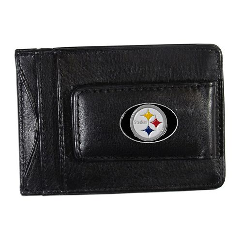 Pittsburgh Steelers Black Leather Cash & Card Holder