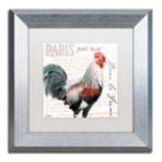 Trademark Fine Art Dans la Ferme Rooster III Silver Finish Framed Wall Art