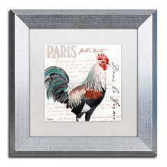 Trademark Fine Art Dans la Ferme Rooster III Silver Finish Framed Wall Art