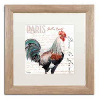 Trademark Fine Art Dans la Ferme Rooster III Birch Finish Framed Wall Art