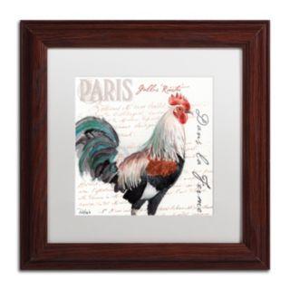 Trademark Fine Art Dans la Ferme Rooster III Wood Finish Framed Wall Art