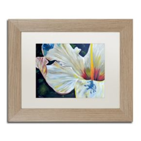 Trademark Fine Art Hibiscus Birch Finish Framed Wall Art