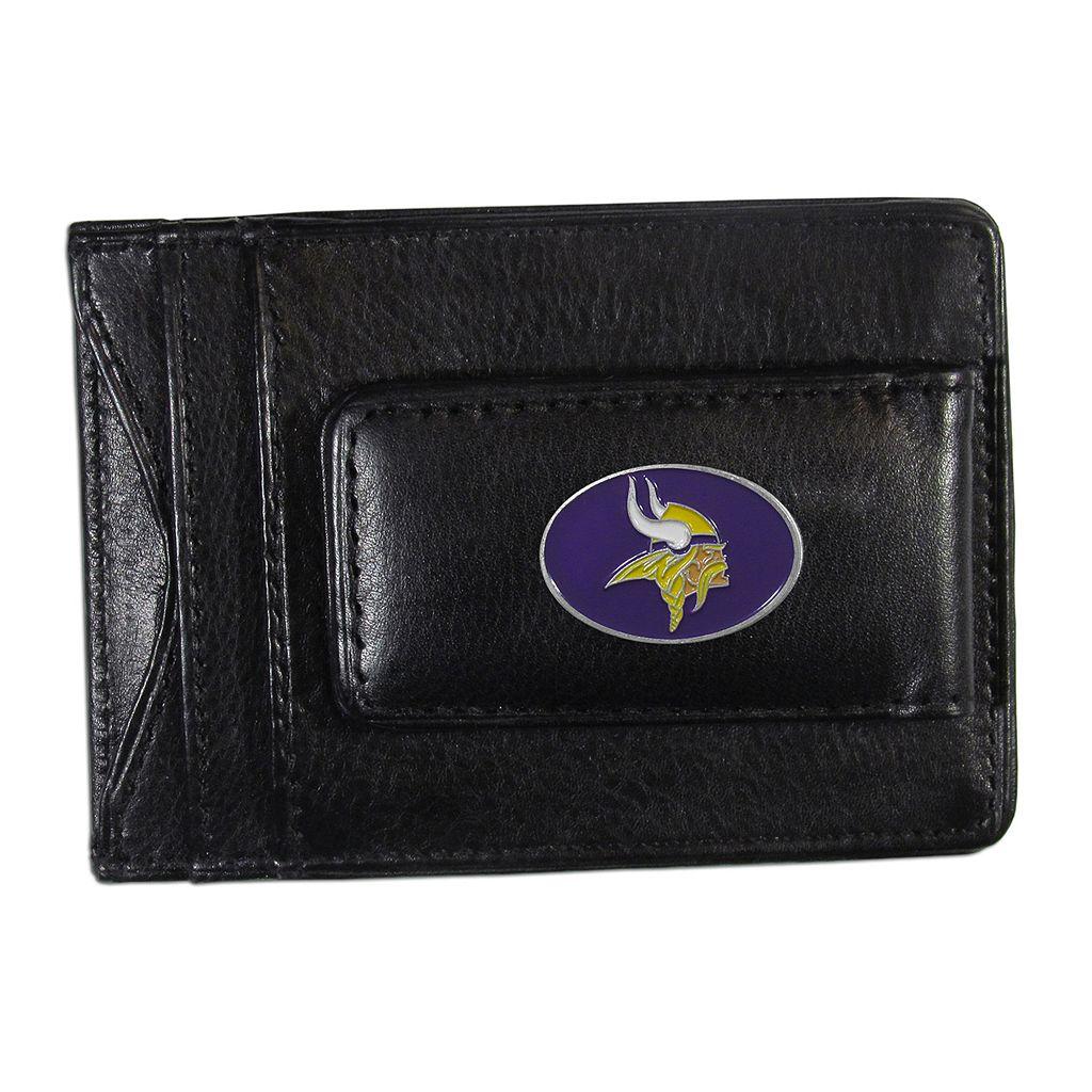 Minnesota Vikings Black Leather Cash & Card Holder