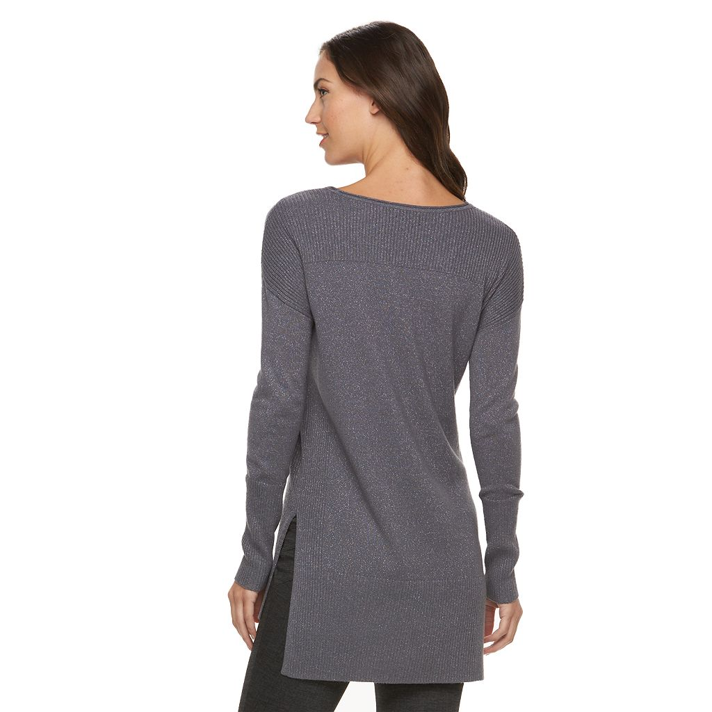Women's Apt. 9® Sparkle Ribbed Sweater Tunic