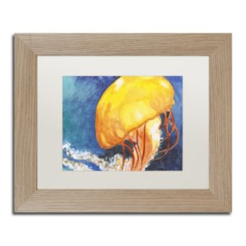 Trademark Fine Art Jelly Fish II Birch Finish Framed Wall Art