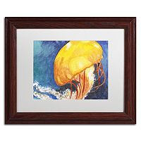 Trademark Fine Art Jelly Fish II Wood Finish Framed Wall Art