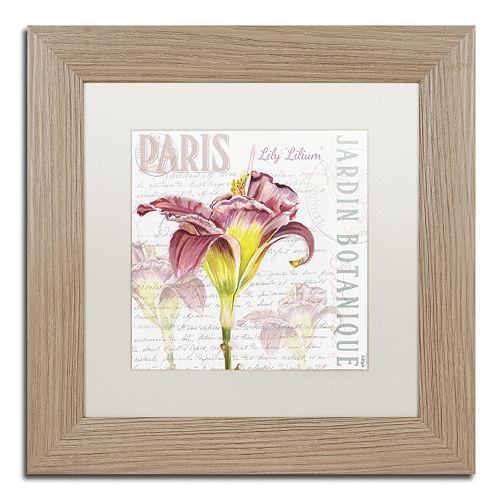 Trademark Fine Art Paris Botanique Lily Birch Finish Framed Wall Art