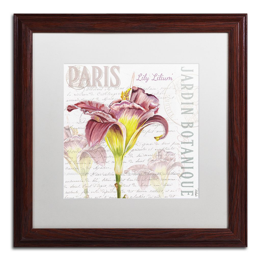 Trademark Fine Art Paris Botanique Lily Wood Finish Framed Wall Art
