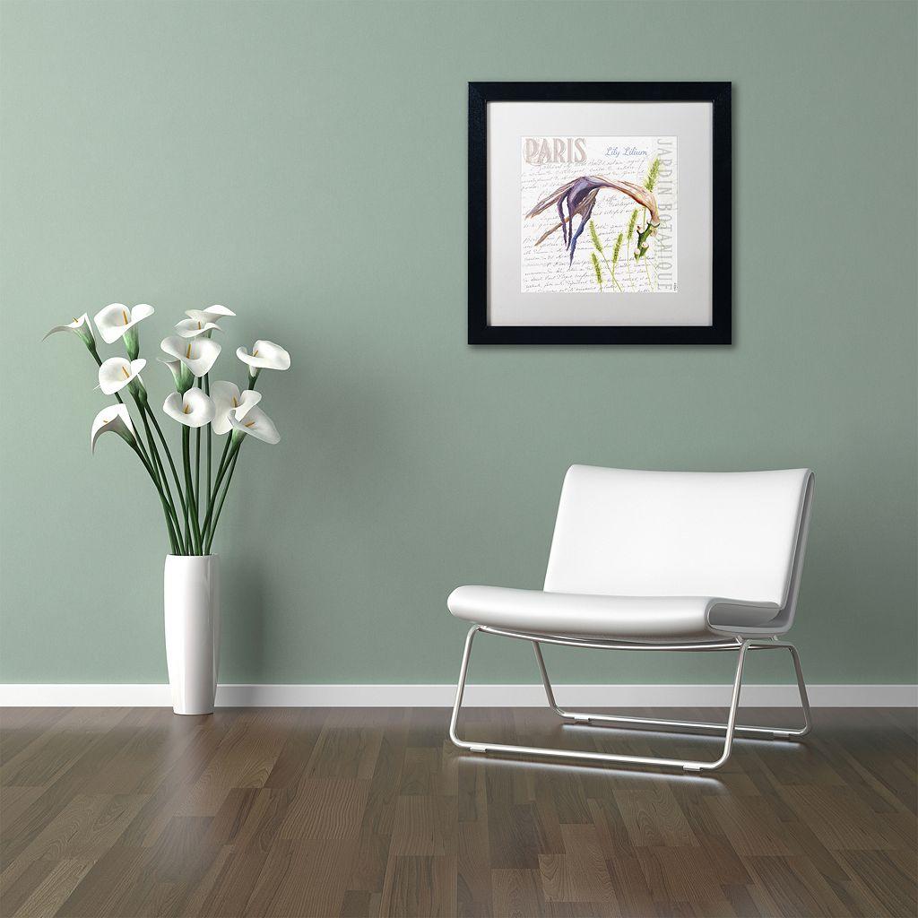 Trademark Fine Art Paris Botanique Lily Black Framed Wall Art