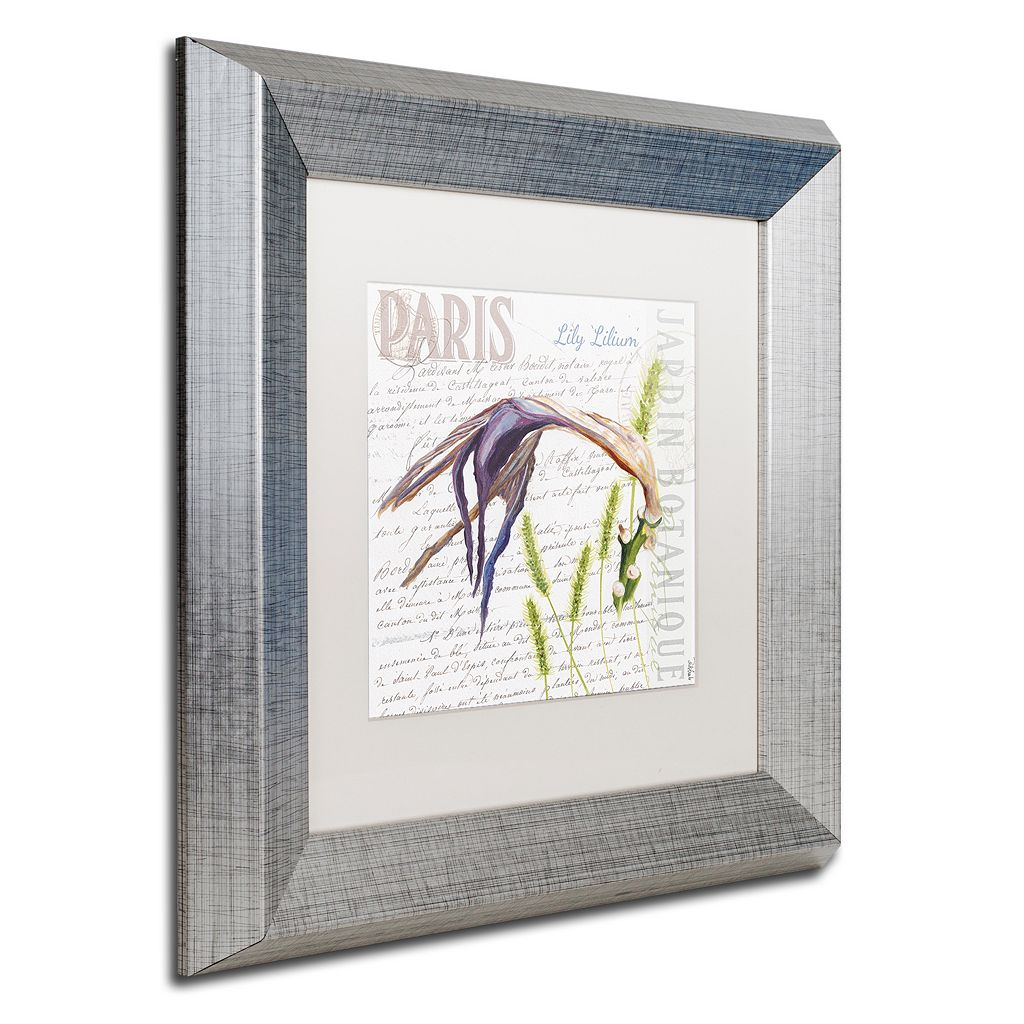 Trademark Fine Art Paris Botanique Lily Silver Finish Framed Wall Art