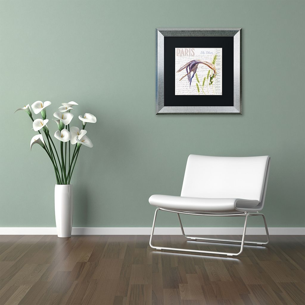 Trademark Fine Art Paris Botanique Lily Silver Finish Framed Wall Art