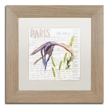 Trademark Fine Art Paris Botanique Lily Birch Finish Framed Wall Art