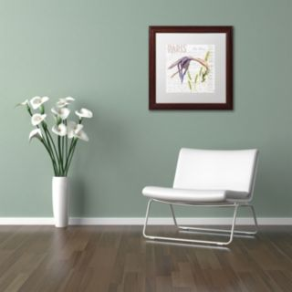 Trademark Fine Art Paris Botanique Lily Purple Framed Wall Art