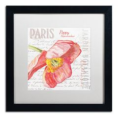 Trademark Fine Art Paris Botanique Red Poppy Black Framed Wall Art