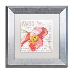 Trademark Fine Art Paris Botanique Red Poppy Silver Finish Framed Wall Art
